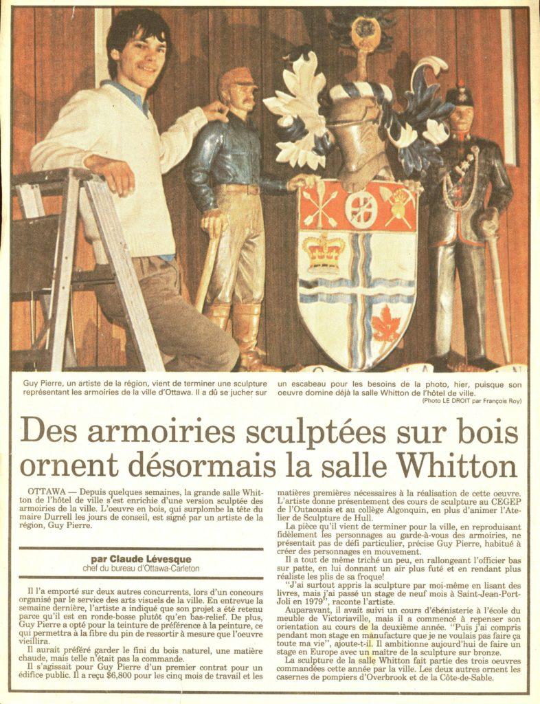 Des armoiries sculptées sur bois ornent désormais la salle Whitton